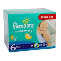 Maxi giga pack 336 Couches Pampers Active Baby Dry taille 6 sur Choupinet