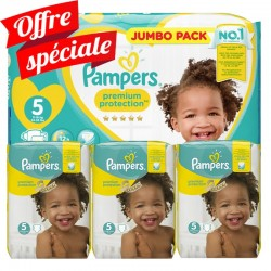 Maxi mega pack 440 Couches Pampers Premium Protection taille 5 sur Choupinet