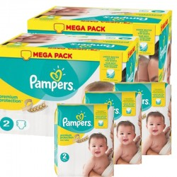Mega pack 124 Couches Pampers Premium Protection taille 2 sur Choupinet