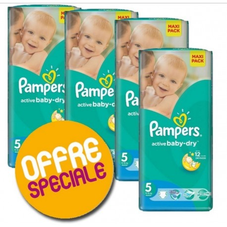 Pack 44 Couches Pampers Active Baby Dry taille 5 sur Choupinet