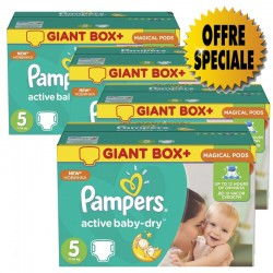 Pack 66 Couches Pampers Active Baby Dry taille 5 sur Choupinet