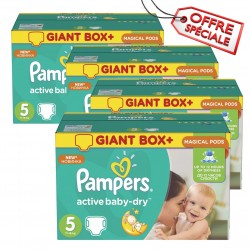 Giga pack 286 Couches Pampers Active Baby Dry taille 5 sur Choupinet