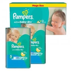 Maxi giga pack 374 Couches Pampers Active Baby Dry taille 5 sur Choupinet