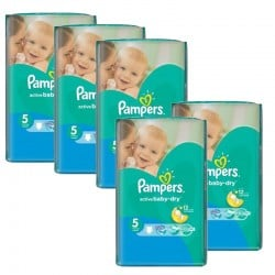 Maxi giga pack 396 Couches Pampers Active Baby Dry taille 5 sur Choupinet