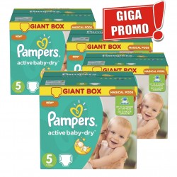 Maxi mega pack 418 Couches Pampers Active Baby Dry taille 5 sur Choupinet
