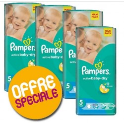 Pack jumeaux 528 Couches Pampers Active Baby Dry taille 5 sur Choupinet