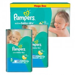 Pack jumeaux 572 Couches Pampers Active Baby Dry taille 5 sur Choupinet