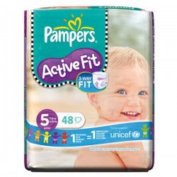 48 Couches Pampers Active Fit Premium Protection taille 5 sur Choupinet