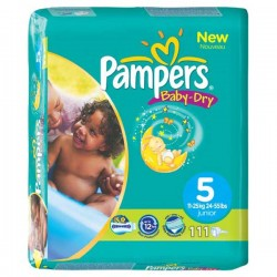 111 Couches Pampers Baby Dry taille 5 sur Choupinet