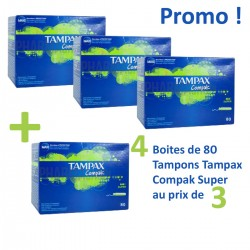 320 Tampons Tampax Compak - 4 Packs de 80 taille super avec applicateur sur Choupinet