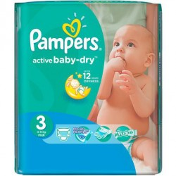 Pack 68 Couches Pampers Active Baby Dry taille 3 sur Choupinet