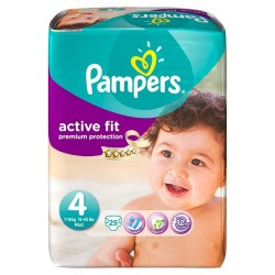 25 Couches Pampers Active Fit taille 4 sur Choupinet